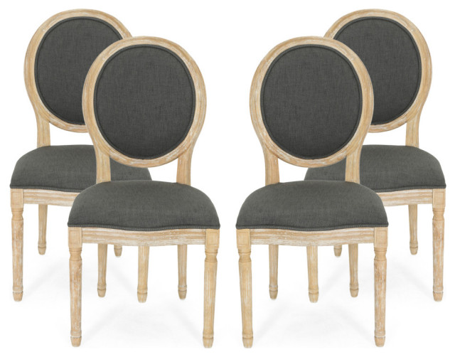 Jerome French Country Dining Chairs, Black Wooden Dining Chairs Set Of 4