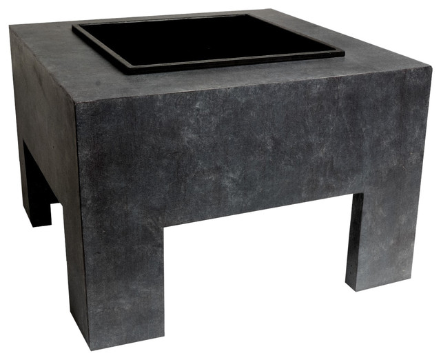 Square Fire Pit with Fibre Clay Console, Granite