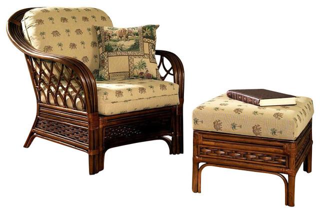 Coco Cay Rattan Arm Chair And Rattan Ottoman Set 641