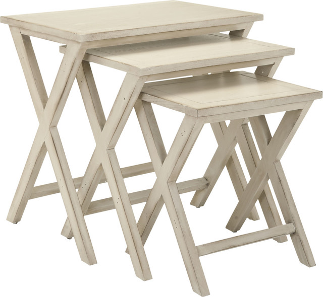 Safavieh Alan Poplar Wood Tray Tables, White Washed