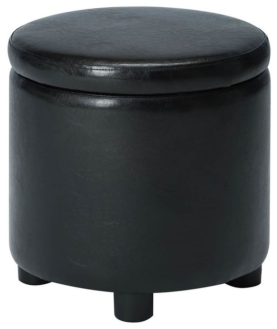 Miraculous Round Accent Storage Ottoman In Black Gmtry Best Dining Table And Chair Ideas Images Gmtryco
