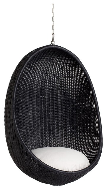 Nanna Ditzel Hanging Egg Chair, Black Indoor by Sika Design