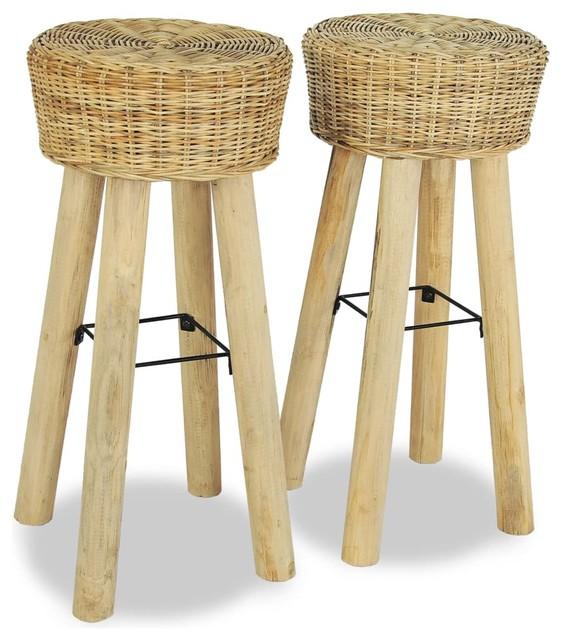 Excellent Vidaxl Teak 2X Bar Stool Natural Rattan Wicker Rustic Chair Kitchen Counter Pdpeps Interior Chair Design Pdpepsorg