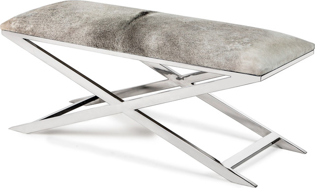 Mirren Bench, Polished Nickel, Light Natural.