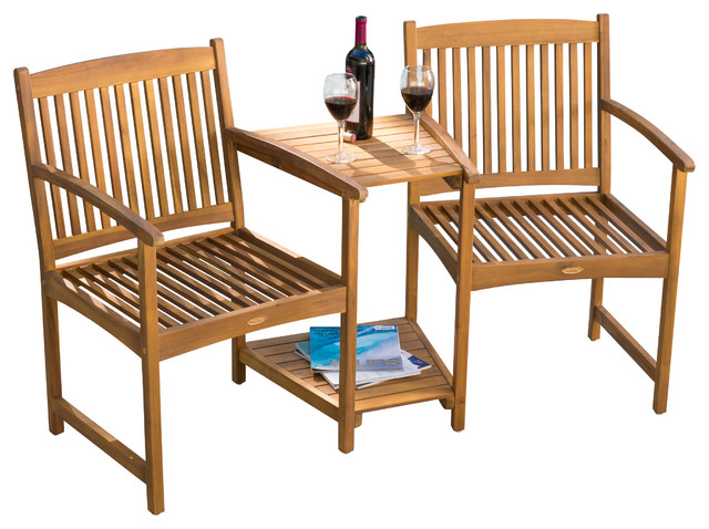 Virginia Outdoor Wood Adjoining Chairs.