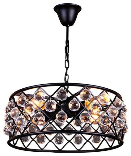 4-Lights Industrial-Style Crystal Pendant
