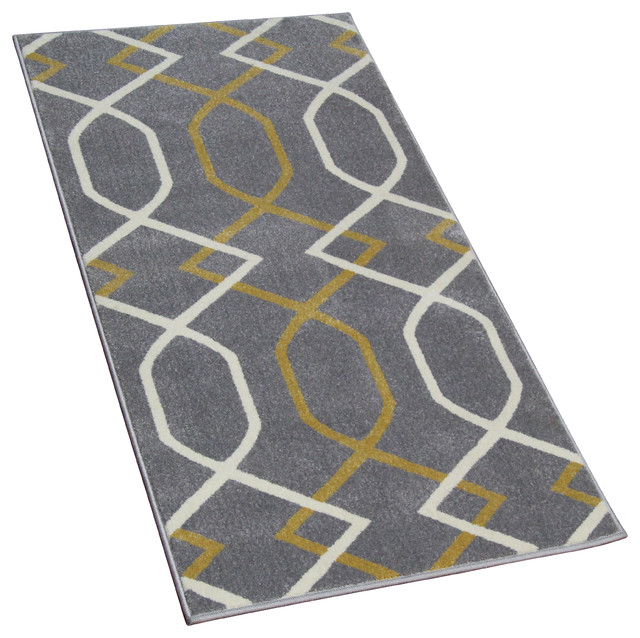 Cozy Rugs Geometric Gray Runner With Yellow Lines