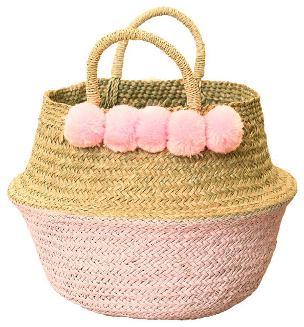 Wicker Basket With Pom Poms : Pom woven nursery basket pastel pink beach style