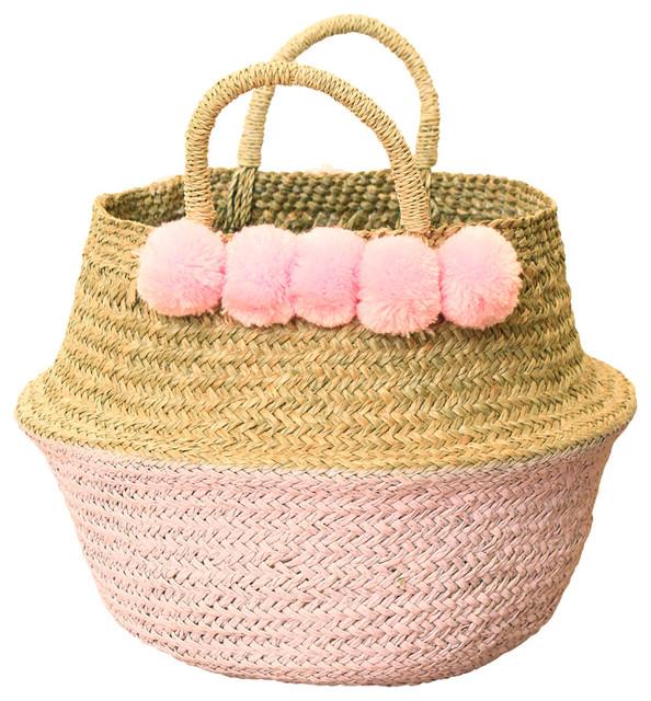 Pom Pom Woven Nursery Basket Pastel Pink Beach Style