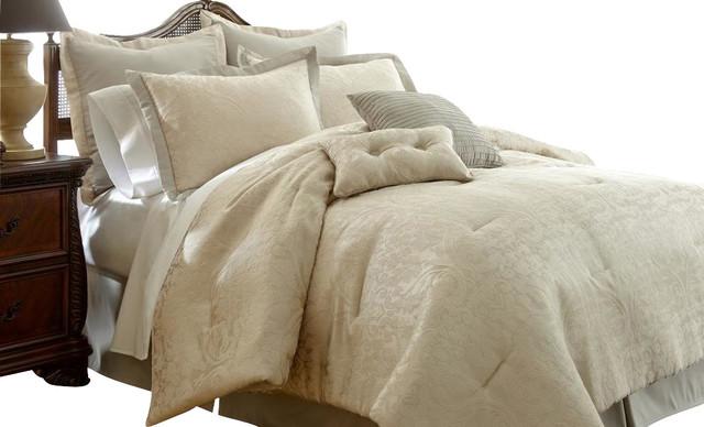 beige comforter set king Serta Suite Sensations 8 piece Jacquard Comforter Set King Beige  beige comforter set king