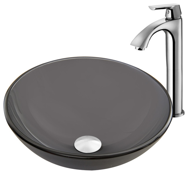 VIGO Sheer Black Frost Glass Vessel Sink and Linus Faucet Set in a ...