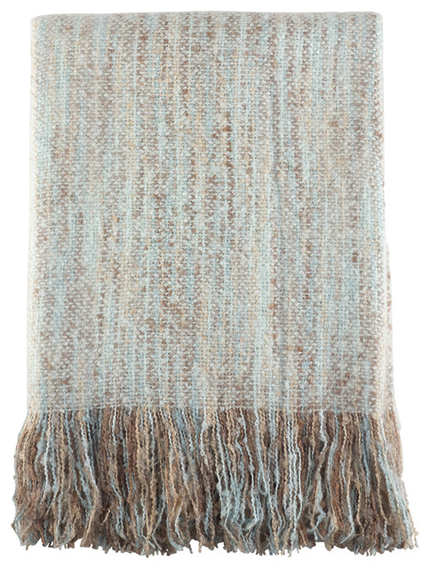 "Fauxmohair Shabby Chic Throw Blanket, 50""x60"", Aqua."