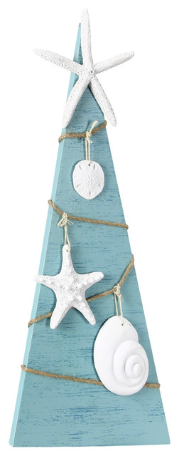 Beachy Blue Coastal Christmas Tabletop Wood Tree With Shell Accents.