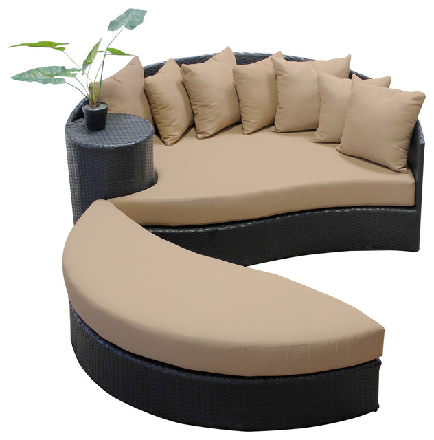 Zen Circular Sun Bed Wheat Transitional Outdoor Sofas By