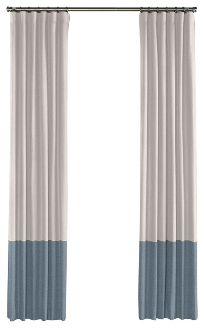 Loom Decor Pale Gray And Muted Blue Linen Color Block