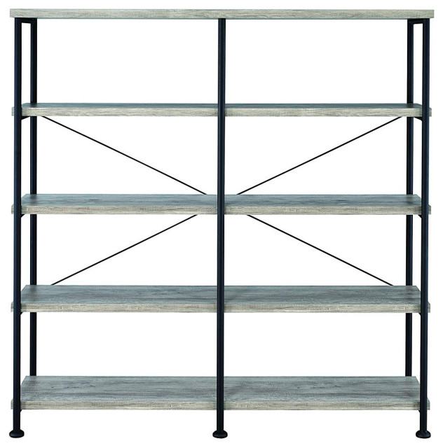 Contemporary Style Wood and Metal Open Bookcase, Gray