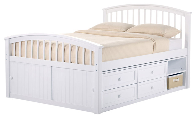 Charmant Craftsman Full Size Captains Bed, White, Additional Storage