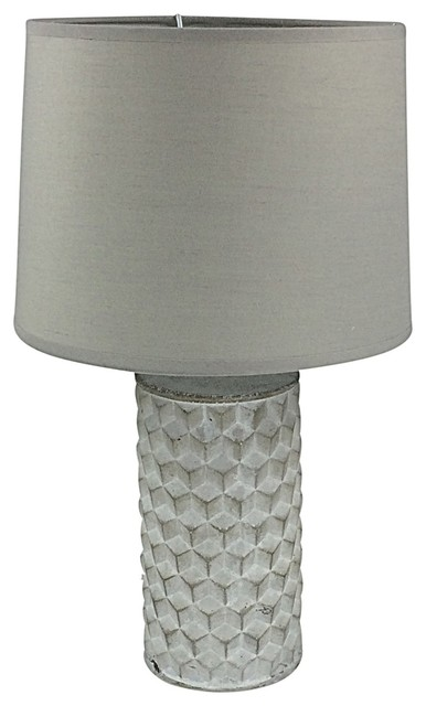 White Bevelled Lamp With Shade