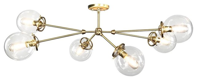 "Horizontal Reef Globe Flush Mount, 38"", Brass."