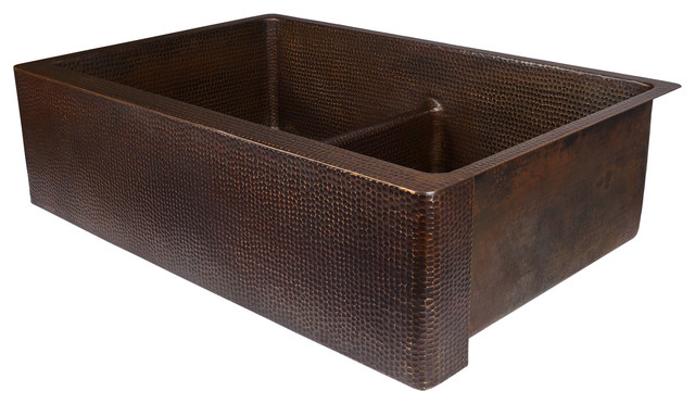 """33"""" Hammered Copper Kitchen Apron 50/50 Double Basin Sink With Short 5"""" Divider"""