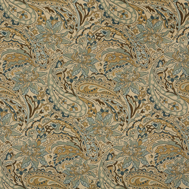 Tan Beige Brown Teal Floral Paisley Indoor Outdoor Upholstery Fabric By The  Yard