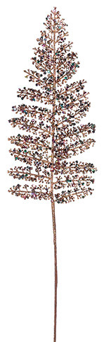 Silk Plants Direct Fern Leaf, Pack of 24, Copper Glittered