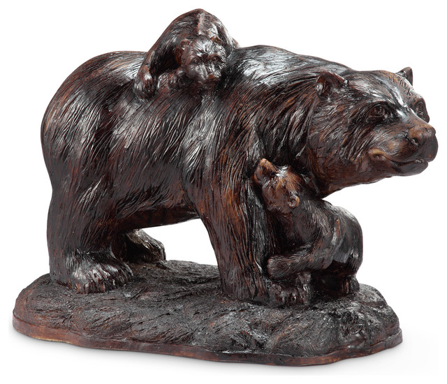 Playtime Garden Sculpture, Bear And Cubs Rustic Garden Statues And Yard