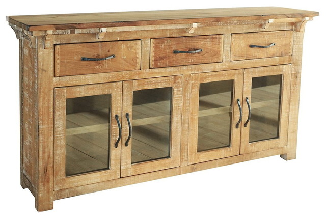 Westwood Rustic Distressed Solid Wood Sideboard Console.