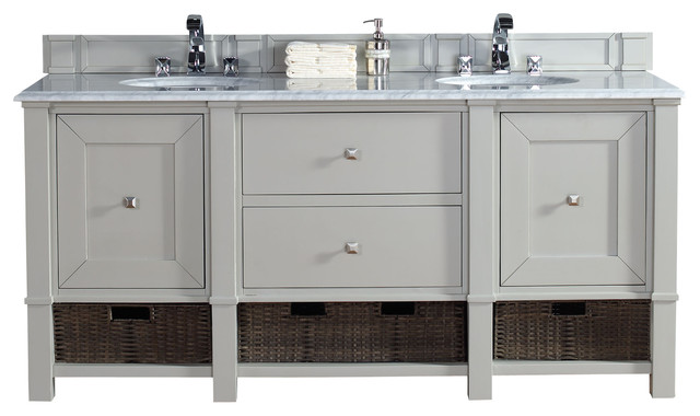 72 dove gray double vanity transitional bathroom vanities and sink consoles by corbel for Bathroom consoles and vanities