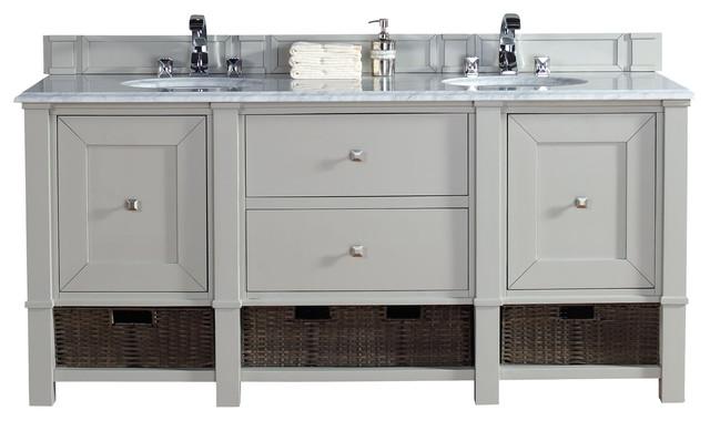72 Dove Gray Double Vanity Transitional Bathroom Vanities And Sink
