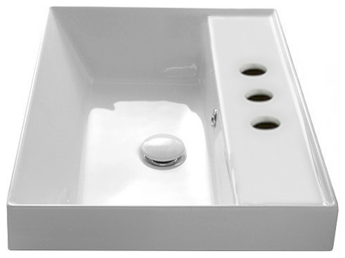 Square White Ceramic Self Rimming Sink, Three Hole