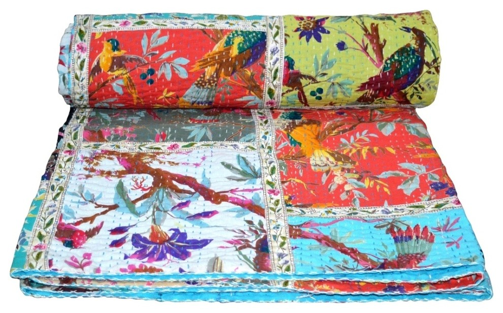 bed cover Bedding Kantha Quilt Indian Cotton Bedspread twin size bedding