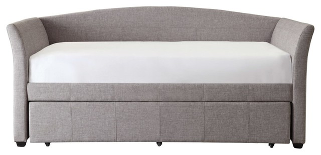 Twin Size Upholstered Daybed With Roll-Out Trundle Bed, Gray.