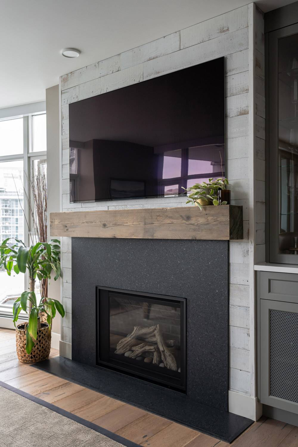 hutch and fireplace