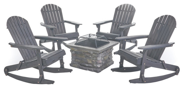 Fine Gdf Studio 5 Piece Benson Outdoor Adirondack Rocking Chair Set With Fire Pit Pdpeps Interior Chair Design Pdpepsorg