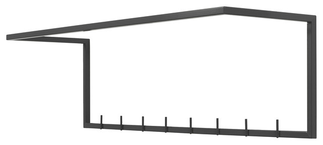 Wall-Mounted Clothes Rack, Black, Large.