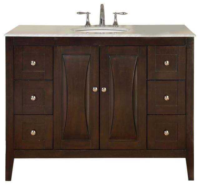 White Transitional Bathroom Vanities: Harriet Single Sink Bathroom Vanity, White Carrara Marble
