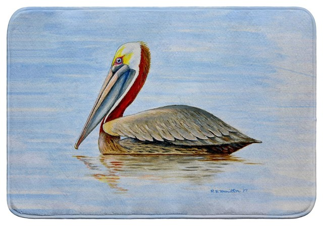 Summer Pelican Bath Mat 24x36 Beach Style Bath Mats By Betsy Drake Interiors