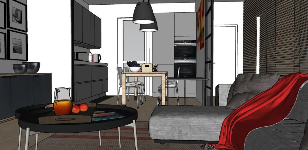 Render_Vista generale del soggiorno verso la cucina.