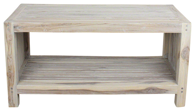 Farmed Teak Sustainable Slat End Table With Shelf Agate Gray Oil Finish 36 X16