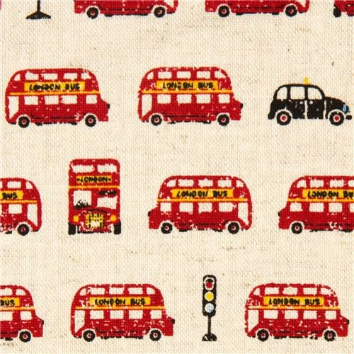 off-white canvas fabric red London double-decker bus
