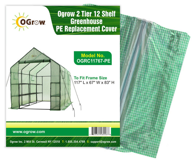 2-Tier 12-Shelf Greenhouse Pe Replacement Cover.