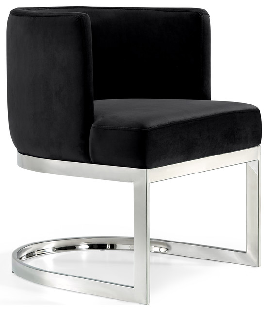 Gianna Velvet Dining Chair, Black, Chrome Base.