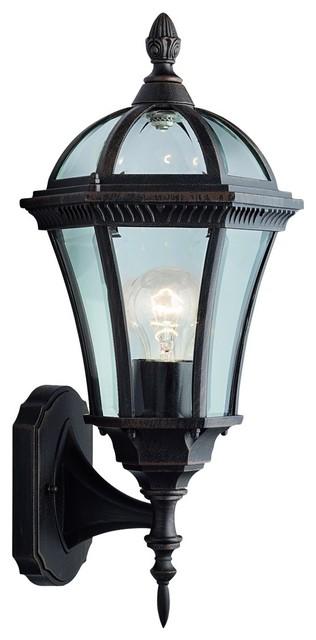 Capri Traditional Outdoor Wall Lantern, Rustic Brown