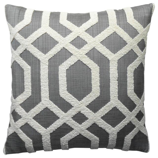 Dark Gray Embroidered Trellis Decorative Pillow Cover.