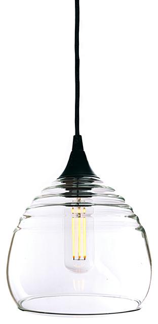 Lucent Single Pendant Light Form No302b Clear Black Hardware Contemporary