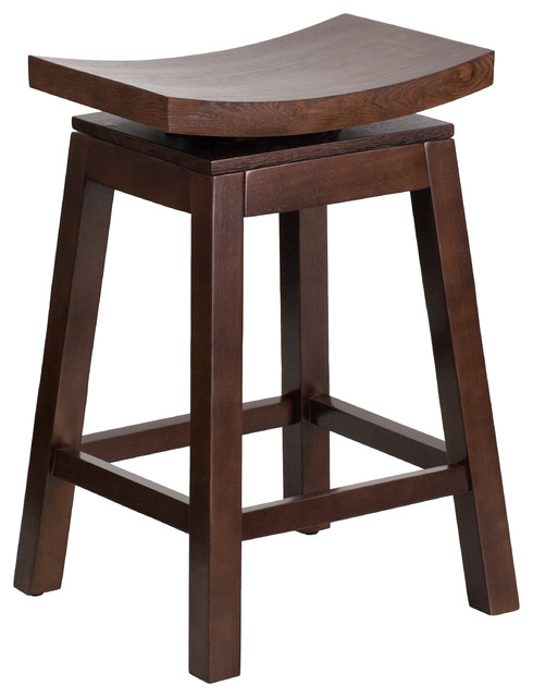 English Saddle Wood Swivel Bar Stool Cappuccino