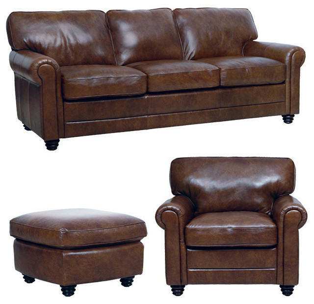 Traditional Sofas Living Room Furniture: Genuine Italian Leather Sofa, Chair And Ottoman In Havana