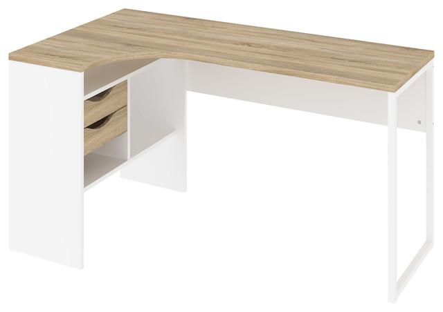 Wayland 2 Drawer Desk, White And Oak
