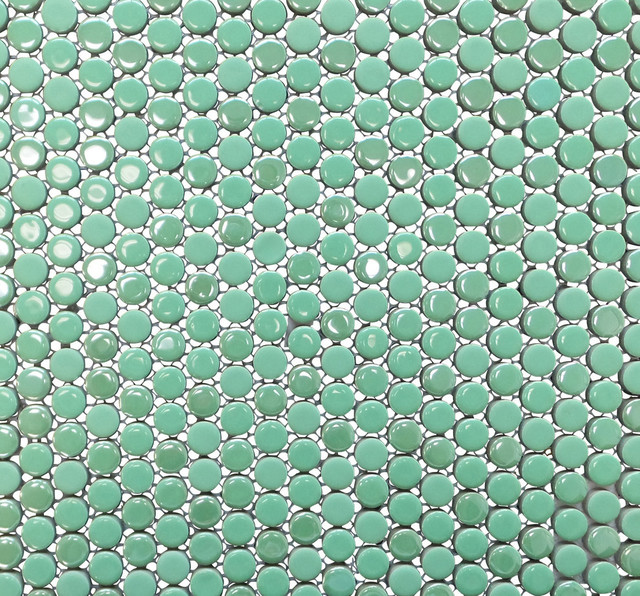 Penny Round Porcelain Mosaic Tile Bright Green 11 Sheets Contemporary